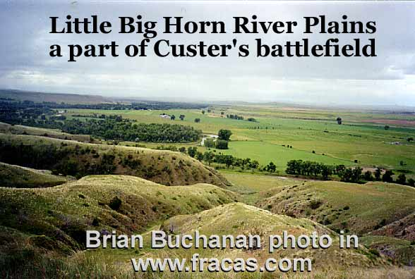 view of Little Big Horn river - hills and plain where parts of multiday battle took place